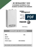 Manual de instalacion y uso del calentador Fagor Mods. FEP-11 FEG-11 MUU-11 FEP-15 FEG-15