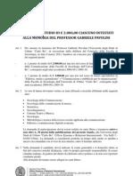 Premi di studio di € 2000 intestati alla memoria di Gabriele Pavolini