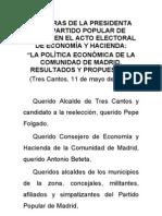 Palabras de Esperanza Aguirre en la presentacion del programa economico en Tres Cantos