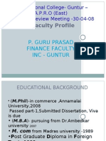 FACULTY PROFILE OF PUTTU GURU PRASAD MUDALIAR