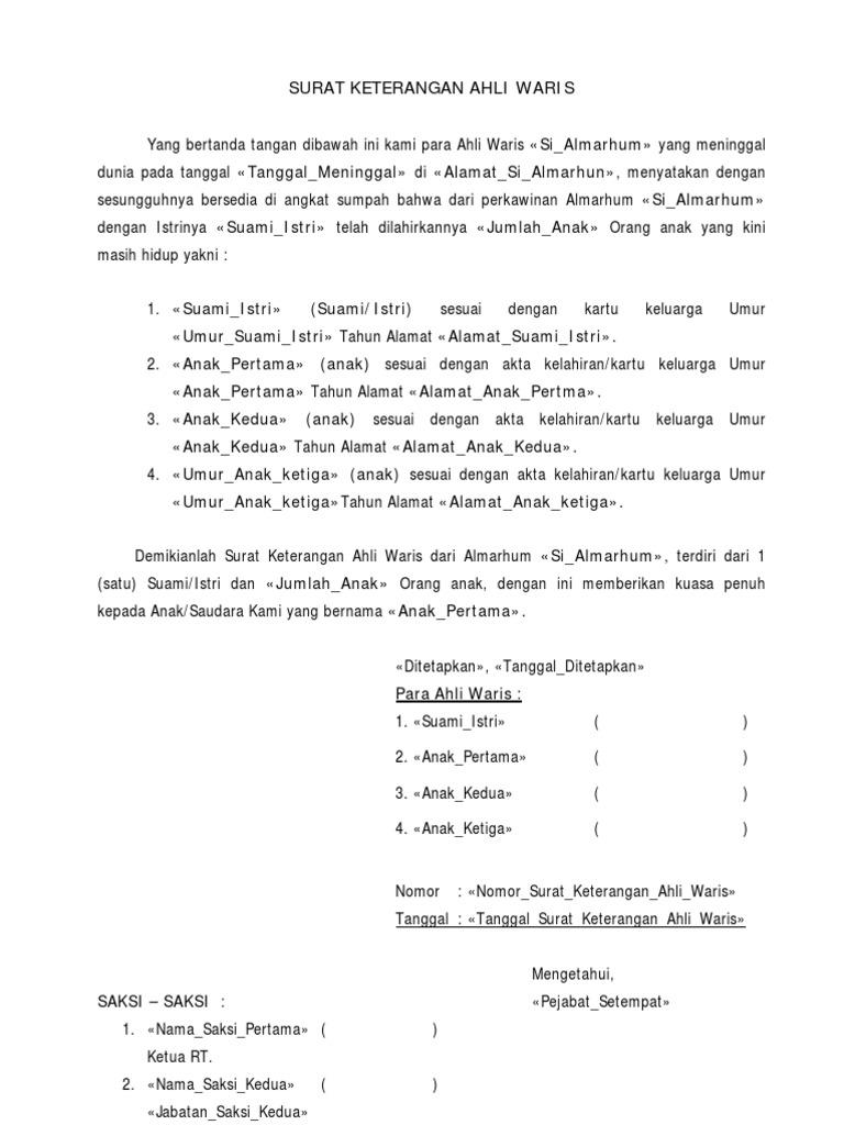 Contoh Surat Keterangan Ahli Waris Tanpa Anak Kumpulan