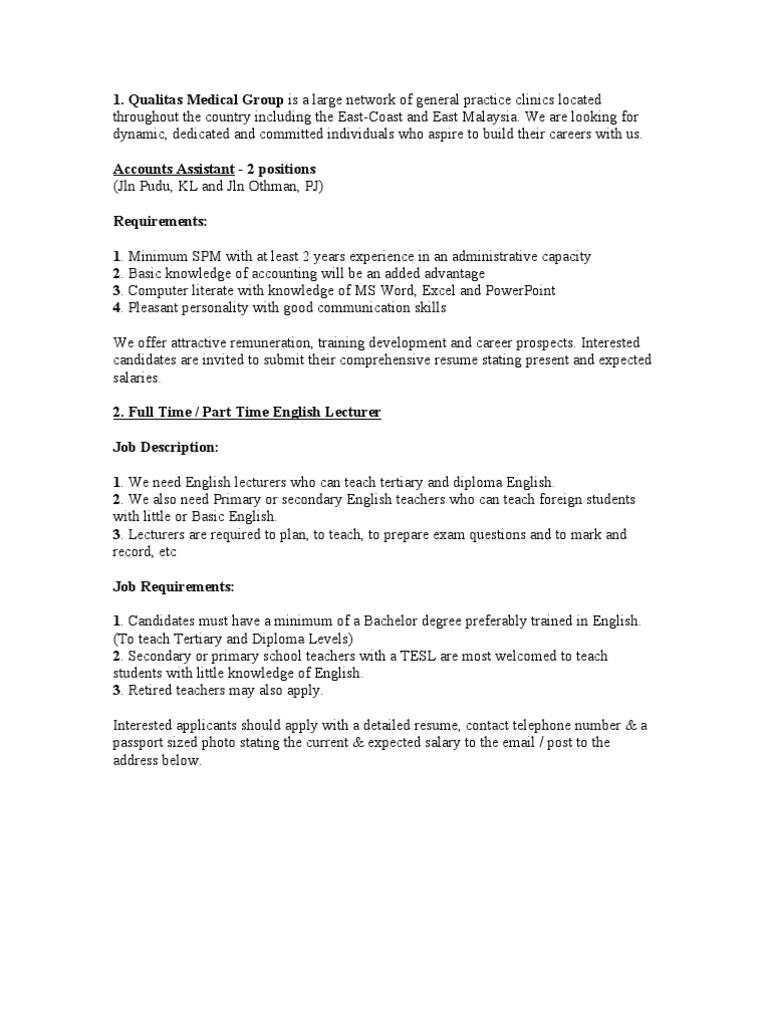 Job Vacancy Flight Attendant Resume