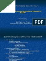 The status of integration of Myanmar in ASEAN