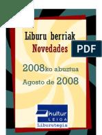 2008ko Abuztuko liburu berrien boletina -- Boletín de novedades de Agosto 2008