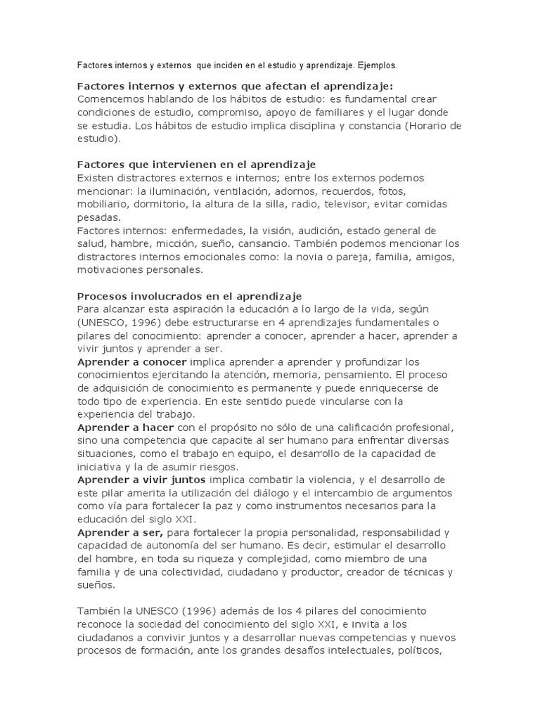 Factores Internos Y Externos Que Inciden En El Estudio Y
