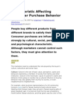 Characteristic Affecting Consumer Purchase Behavior