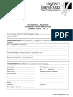 Exchange Student Application Form 2009-2010