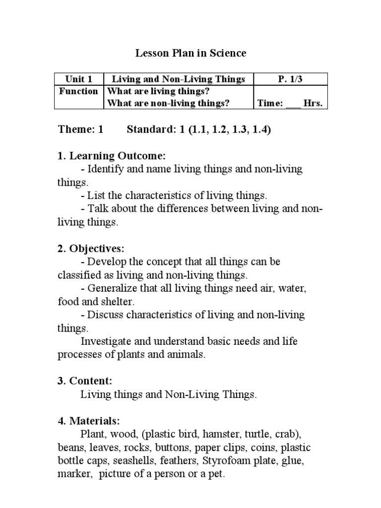 an analysis of the similarities and differences between the living and the non living things