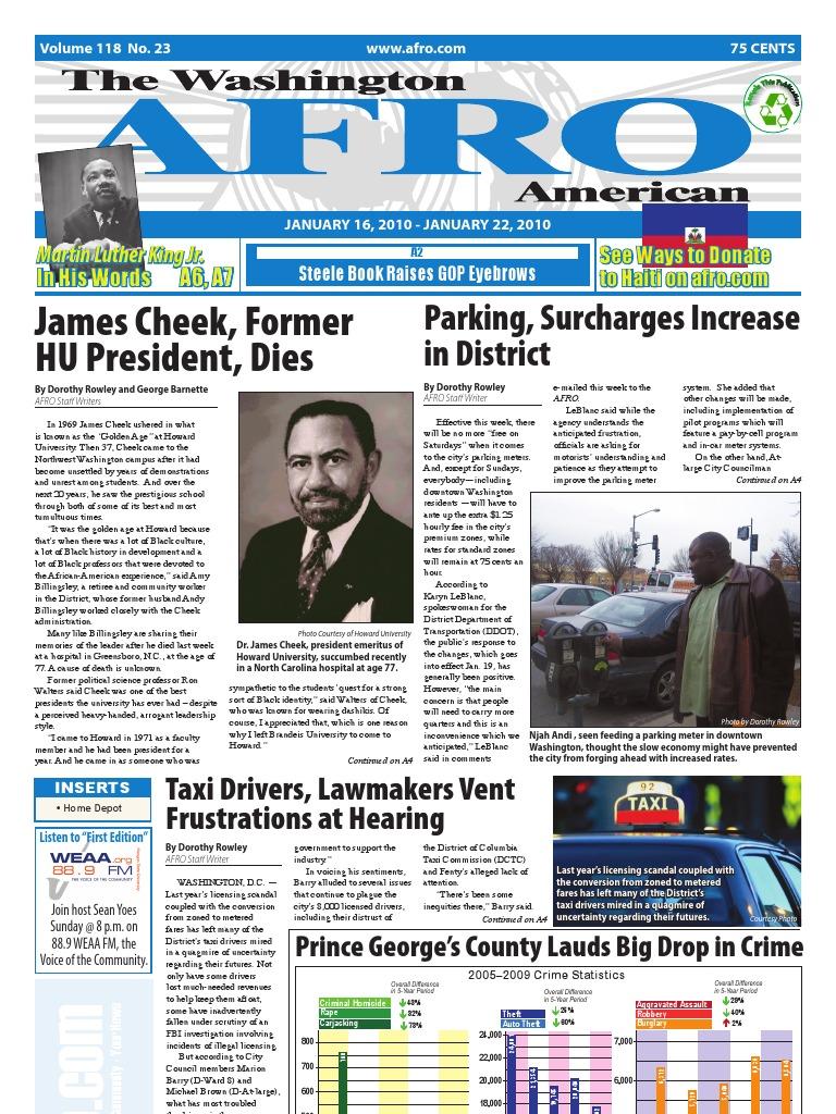 Washington DC Afro American Newspaper January 16 2010