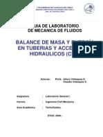 Balance de Masa y Energia en Tuberias y Accesorios Hidraulicos