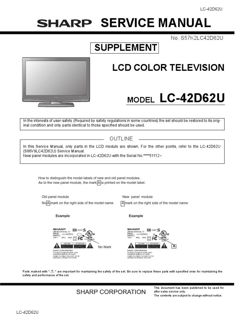 repair manual sharp lc 42d62u lcd color television