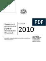Management Exam Paper Hussein Kamel EL Sammakl