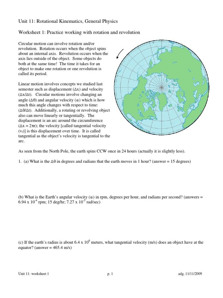 Worksheets Kinematics Worksheet rotational kinematics worksheet packet speed rotation around a fixed axis