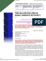 Two Billion Dollars in Rahul Gandhi's Account