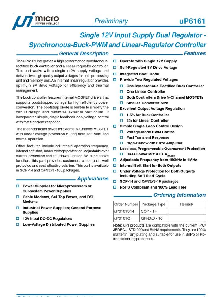 Up6161 Datasheet Mosfet Amplifier General Application Schematic For Voltage Regulators With