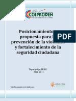 Posicionamiento y Propuesta Para La Prevencion de La Violencia y Fortalecimiento de La Seguridad Ciudadana 09-05-11