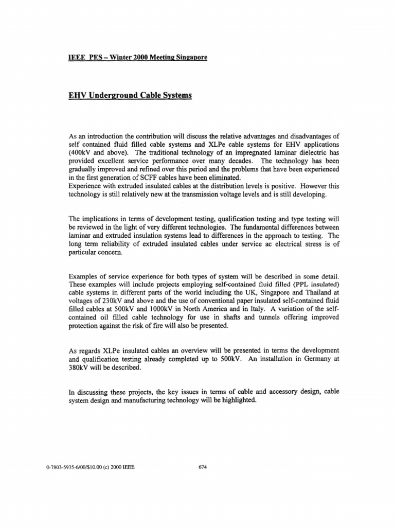 Ehv Underground Cable Systems: Ieee Pes -Winter 2000 Meeting