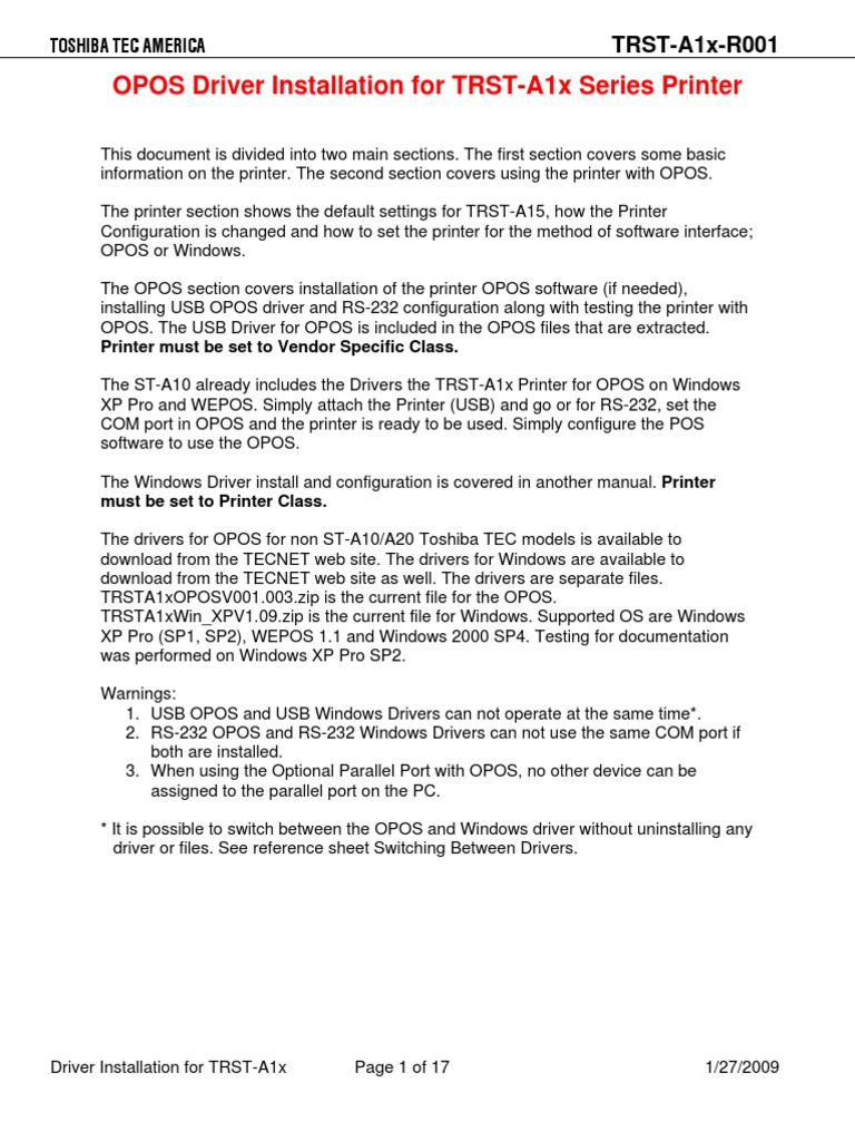 TRST-A1x-R001 - OPOS Driver Installation - R3 | Computing