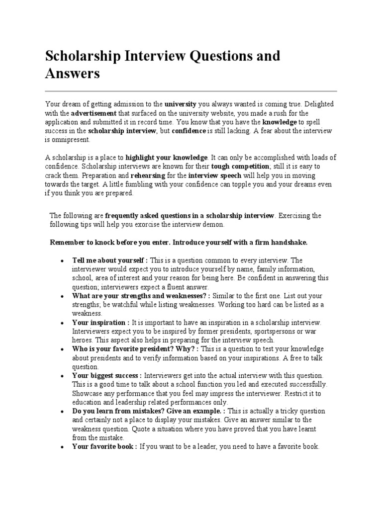 scholarship interview questions and answers interview r eacute sum eacute