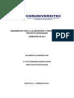Lineamientos Proyecto Integrador i p 2011