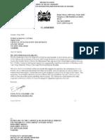10.22.2008.  Emmanuel Kisombe letter to Simon Karanja Gatiba.  Kenya.