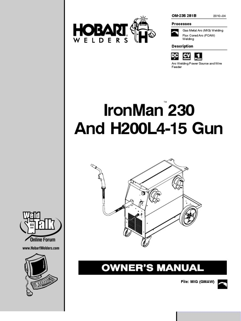 IronMan 230 and H200L4-15 Gun Owner\'s Manual | Welding | Electrical ...