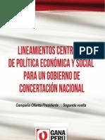 Lineamientos Centrales de Política Económica y Social para un Gobierno de Concertación Nacional