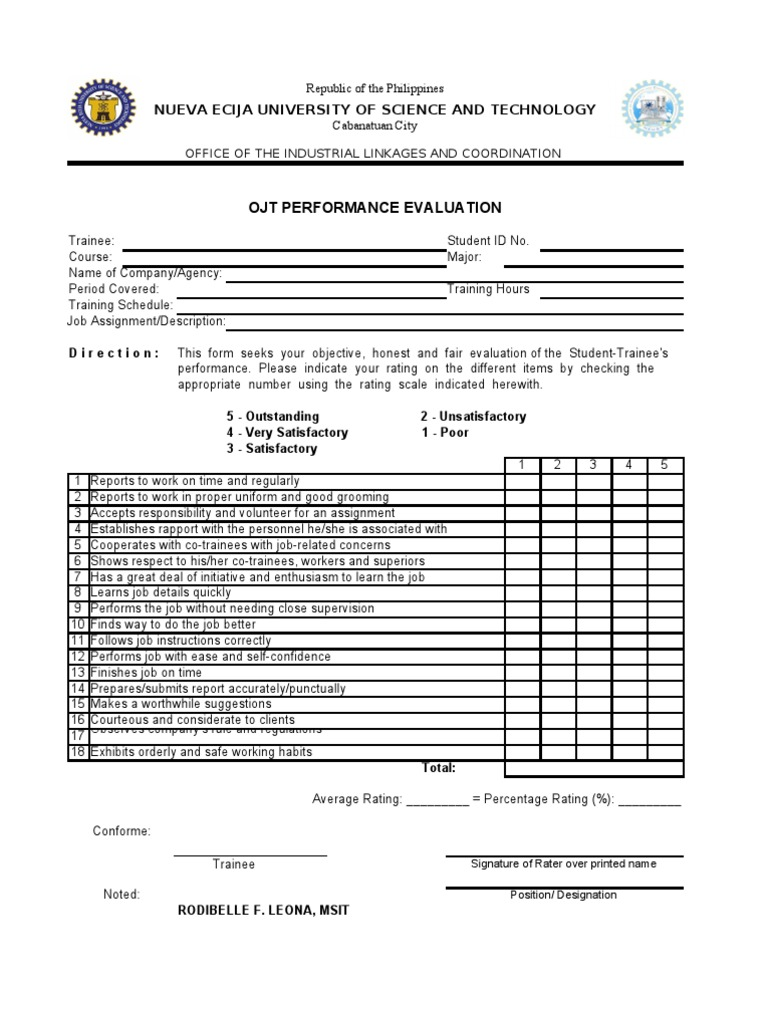 OJT Performance Evaluation – On the Job Training Evaluation Form