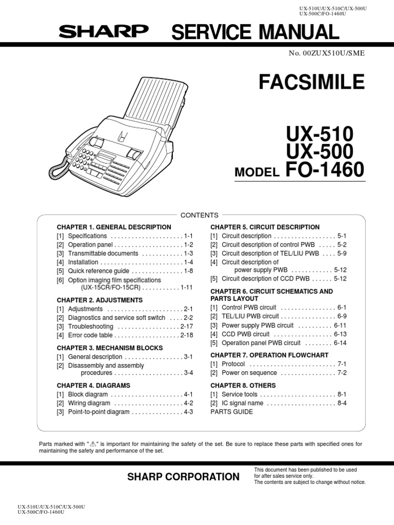 Sharp Ux 500 510 Fo 1460 Service Manual Fax Modem Fog Light Relay Wiring Diagram R5 Super 5