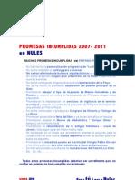 PROMESAS INCUMPLIDAS 2007- 2011  en NULES