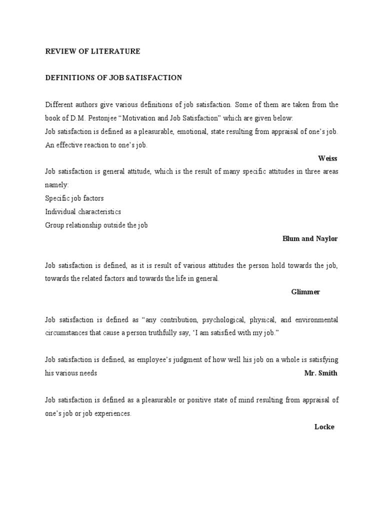 review of literature job satisfaction job satisfaction motivation