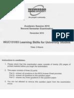 Wuc131 Final Exam 2010