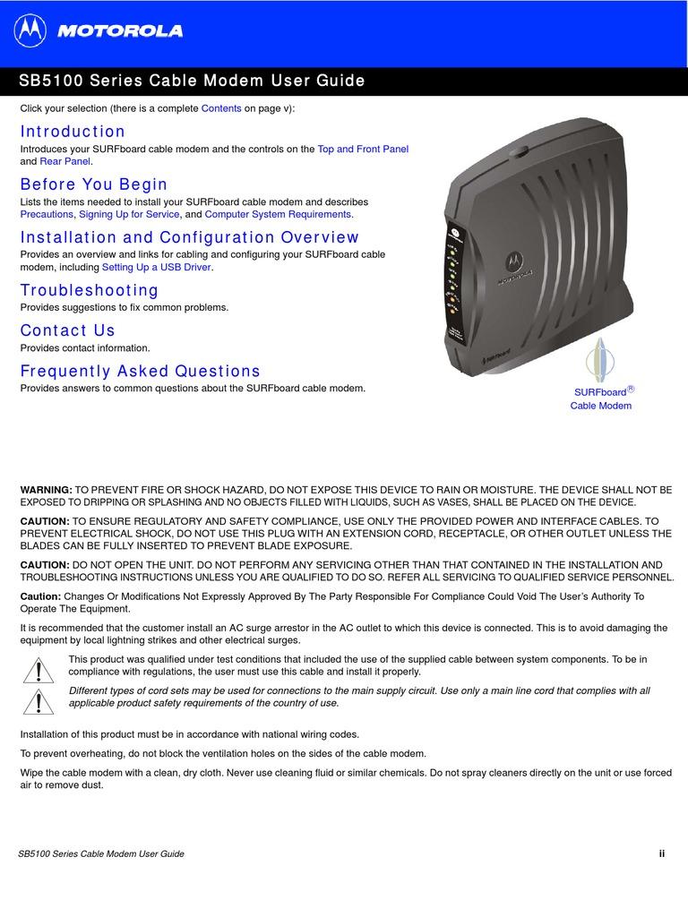 Motorola Cable Modem Sb5101 User Guide Microsoft Windows