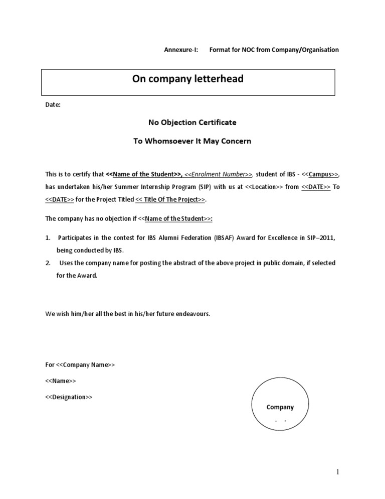Doc.#600730: Format Of Non Objection Certificate – No Objection