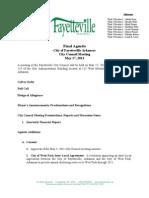 Fayetteville Final Agenda - May 17, 2011