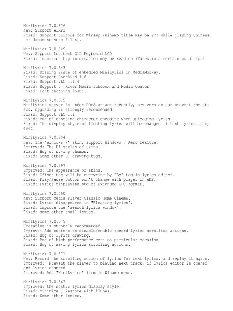 MINILYRICS 7.0.604 TÉLÉCHARGER