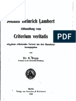 Lambert, Abhandlung vom criterium veritatis