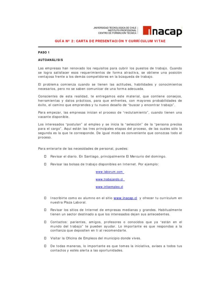 GUIA02 Carta de Presentación y curriculum Vitae