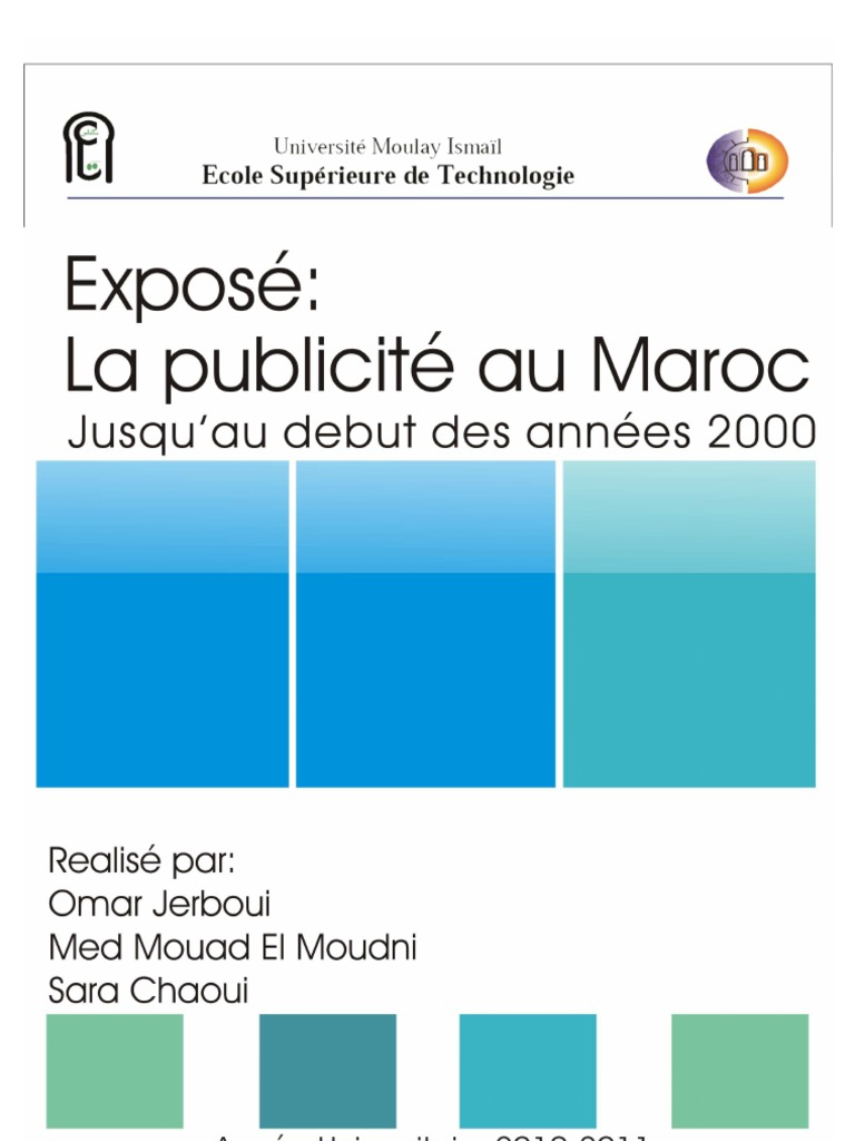 Exposé Final Page De Garde Publicité Maroc