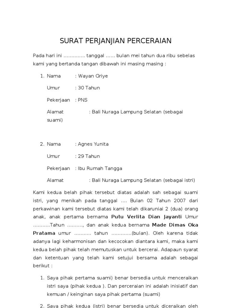 Contoh Surat Pernyataan Cerai Nusagates