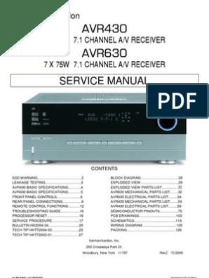 47167240 Harman Kardon Service Manual for AVR 430 and AVR 630