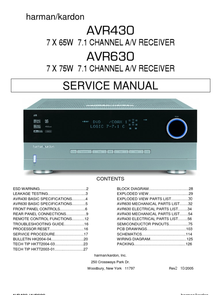 47167240 harman kardon service manual for avr 430 and avr 630 rh scribd com Harman Kardon AVR 320 Review Curtis 1228 Manual