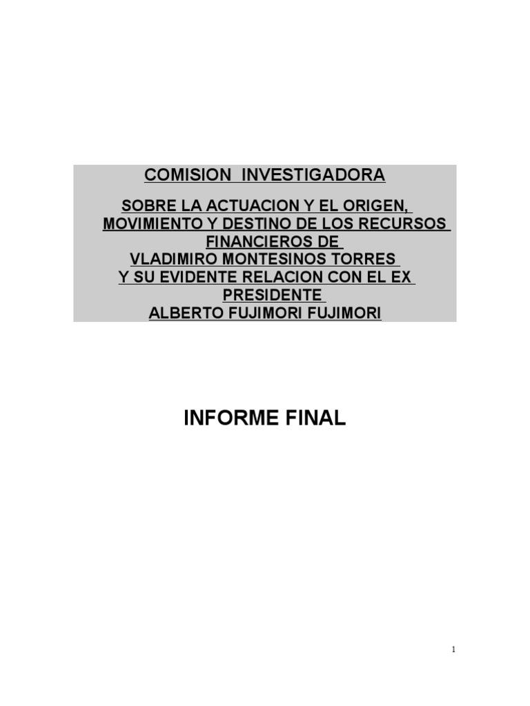 INFORME FINAL SOBRE FUJIMORI-MONTESINOS CORRUPCION