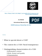 How a Citizens Guide Tothe Budget Can Strengthen Fiscal Transparency and Increase Public Participation May 2011