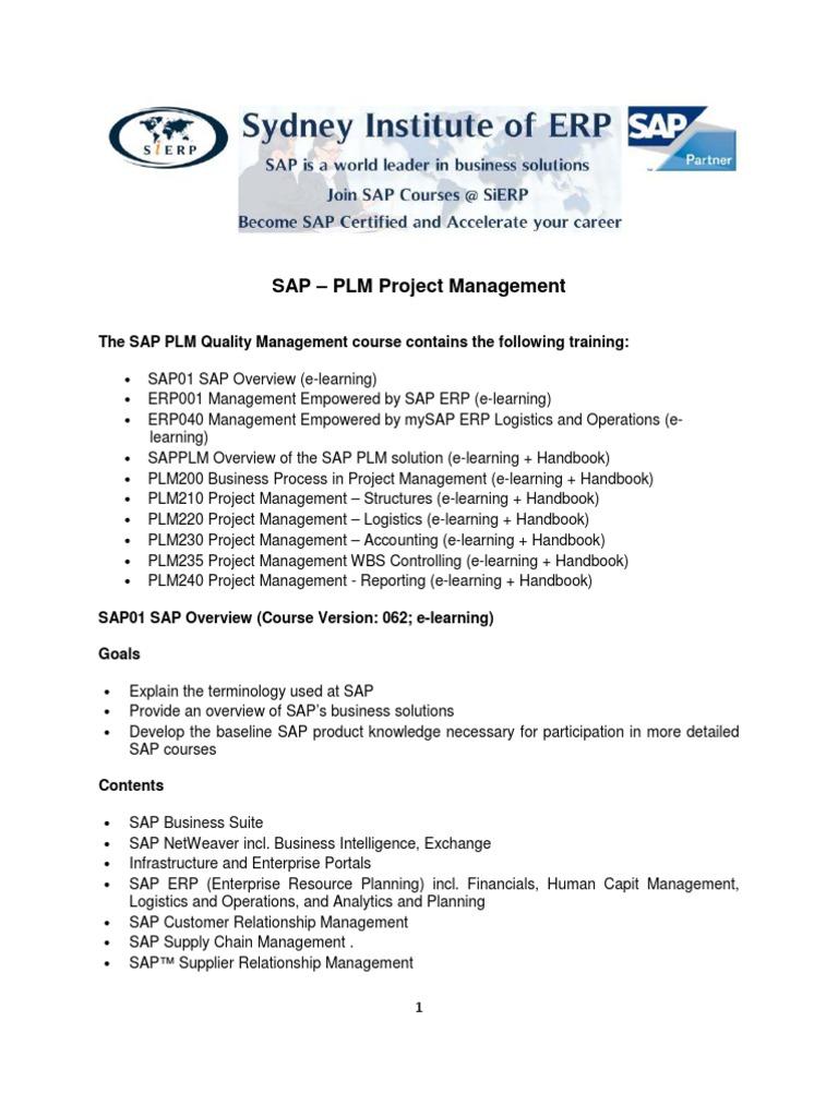Plm Project Management Outline 2011 Project Management Sap Se