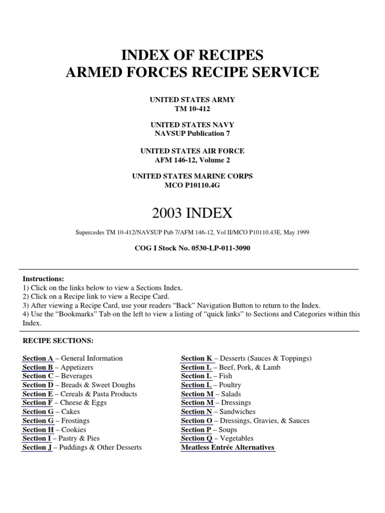 Us armed forces food recipes 2003 cuisine western cuisine forumfinder Choice Image