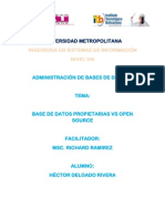 Ensayo Base de Datos Propietarias vs Open Source