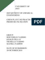 Pressure Filtration Practical