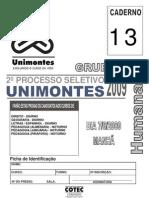 13 prova Unimontes 2 2009