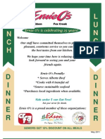 2011 Edson - Lunch and Dinner Menu